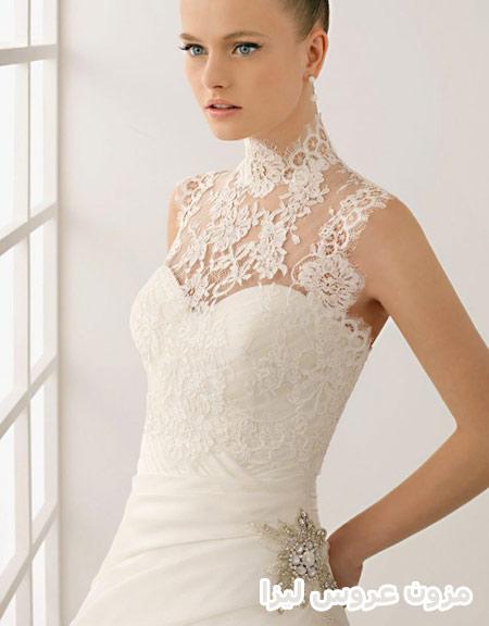 لباس عروس یقه سه سانتی